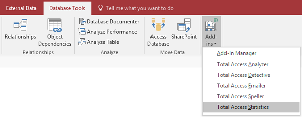 Total Access Statistics Runs as a Microsoft Access Add-in