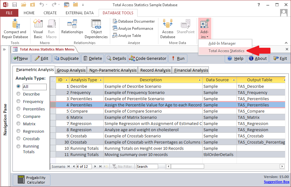 Microsoft Access Data Analysis addin Total Access Statistics