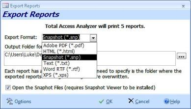 Export Reports to Multiple File Formats: such as Adobe PDF, HTML, Snapshot, Text, RTF, or XPS