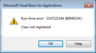 "Microsoft Access ""Class Not Registered"" Run-time Error -2147221164 (80040154)"