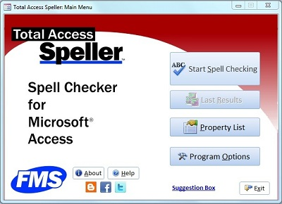 Total Access Speller Main Screen for Spell Checking Microsoft Access objects