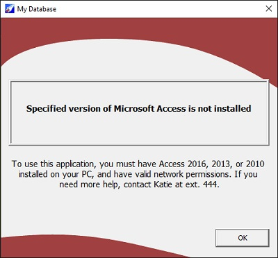 Microsoft Access Version Not Installed