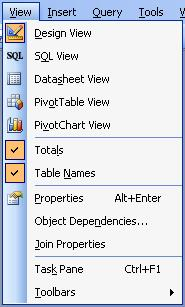 Microsoft Access Query View Menu Selection