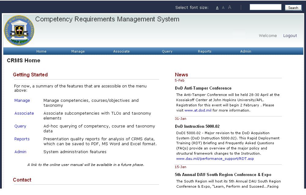 Defense Acquisition University Competency Requirements Management System