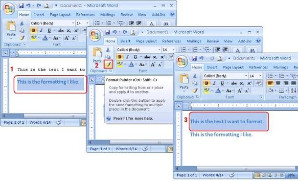example using microsoft word