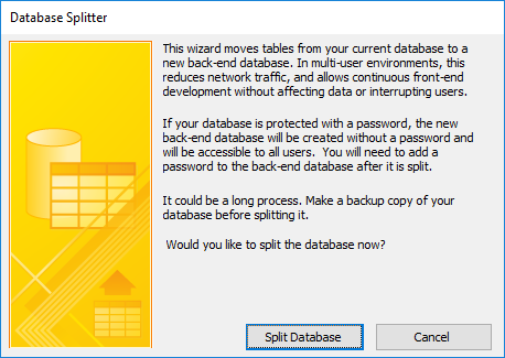 Microsoft Access Split Database Architecture to Support