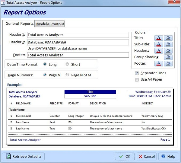 Total Access Analyzer Report Options for Microsoft Access Databases