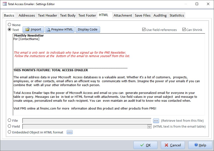Send Html Email Messages From Microsoft Access