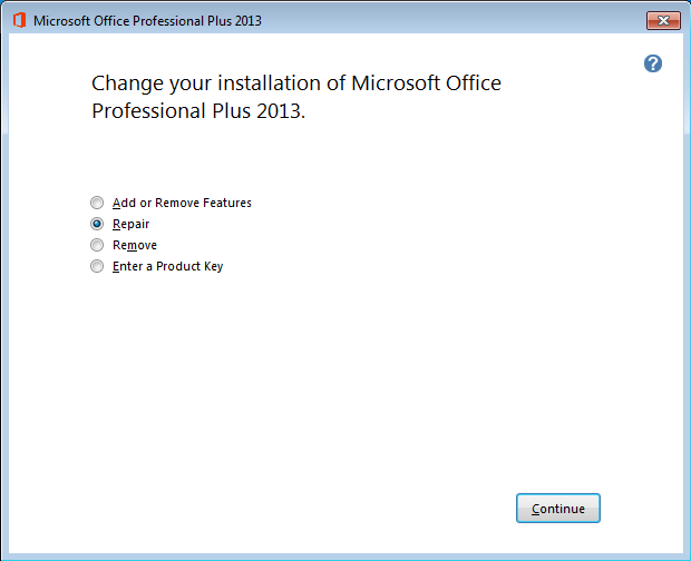 Repair Microsoft Access Office