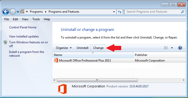 Control Panel, Programs and Features, Microsoft Office Access