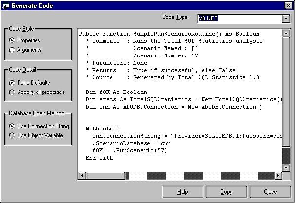 Total SQL Statistics Code Generator