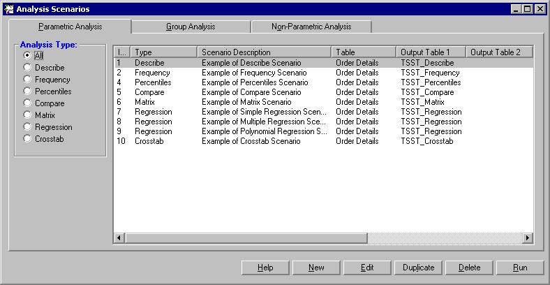 Total SQL Statistics Scenario Designer