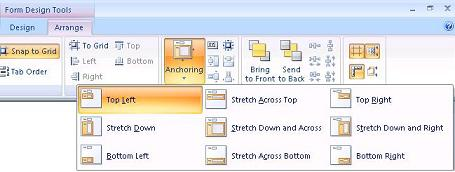 Anchoring objects in Microsoft Access forms