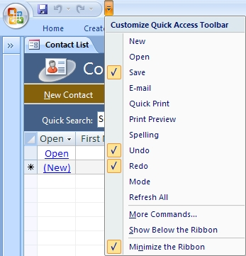 how to add lable to quick acces toolbar