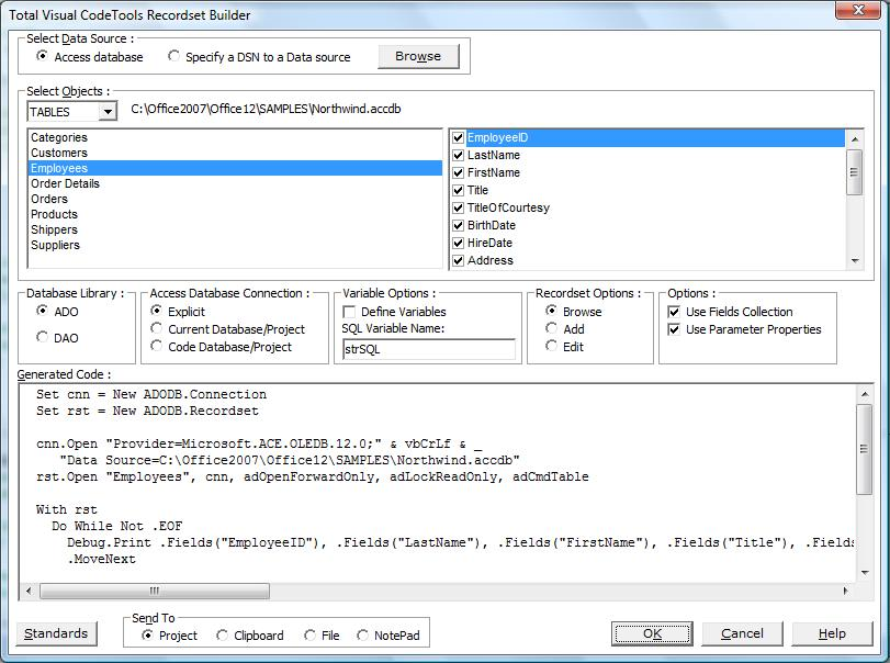 Recordset Builder Creating ADO/DAO Code in Total Visual CodeTools for VB6 and VBA/Office