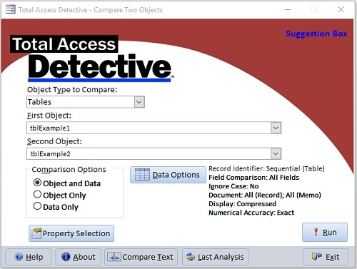 Microsoft Access Compare Database and Object Differences