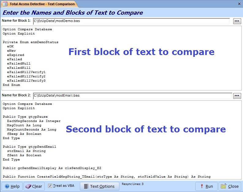 Compare two Microsoft Access Modules for Differences and