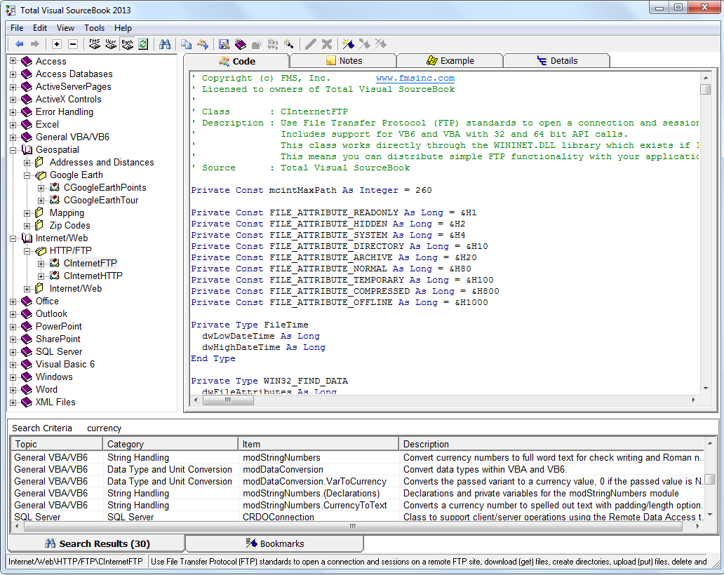 Details of Code Explorer in Total Visual SourceBook