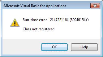 Class Not Registered Run-time Error -2147221164 (80040154