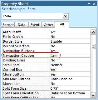 Using the Form Navigation Caption in Microsoft Access 2007 and later