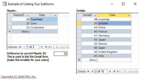 Synchronize Two Related Subforms on a Microsoft Access Form