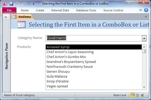 Microsoft Access Form Selecting the First Item in a ComboBox or