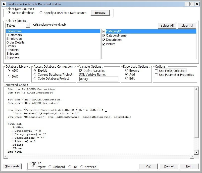 Total Visual CodeTools: ADO and DAO Recordset Builder for VB6 and