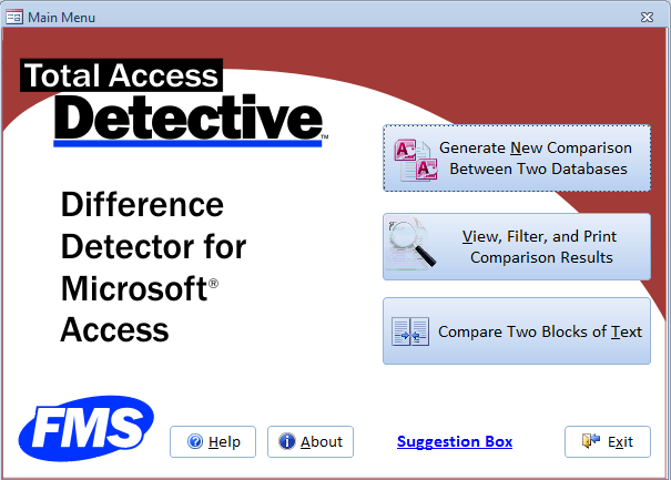 microsoft access compare database and object differences tool with