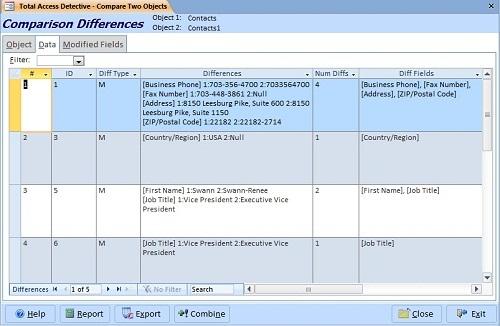 Compare two microsoft access tables for design and data for Comparison table design