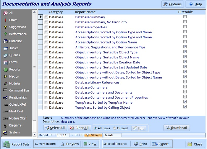 microsoft access database documentation reports
