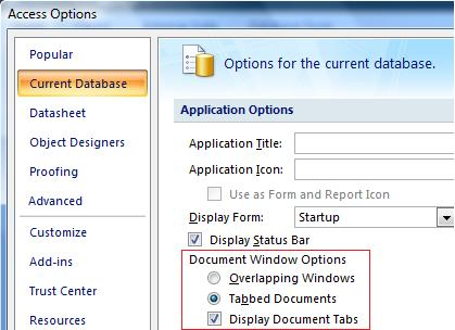 Setting the tabbed interface option in Microsoft Access 2007